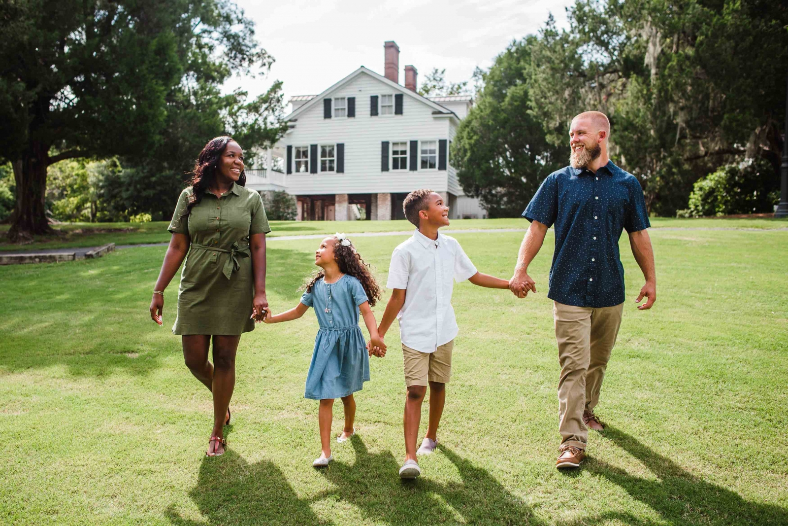 charleston family walking down Old Santee Canal river bluff