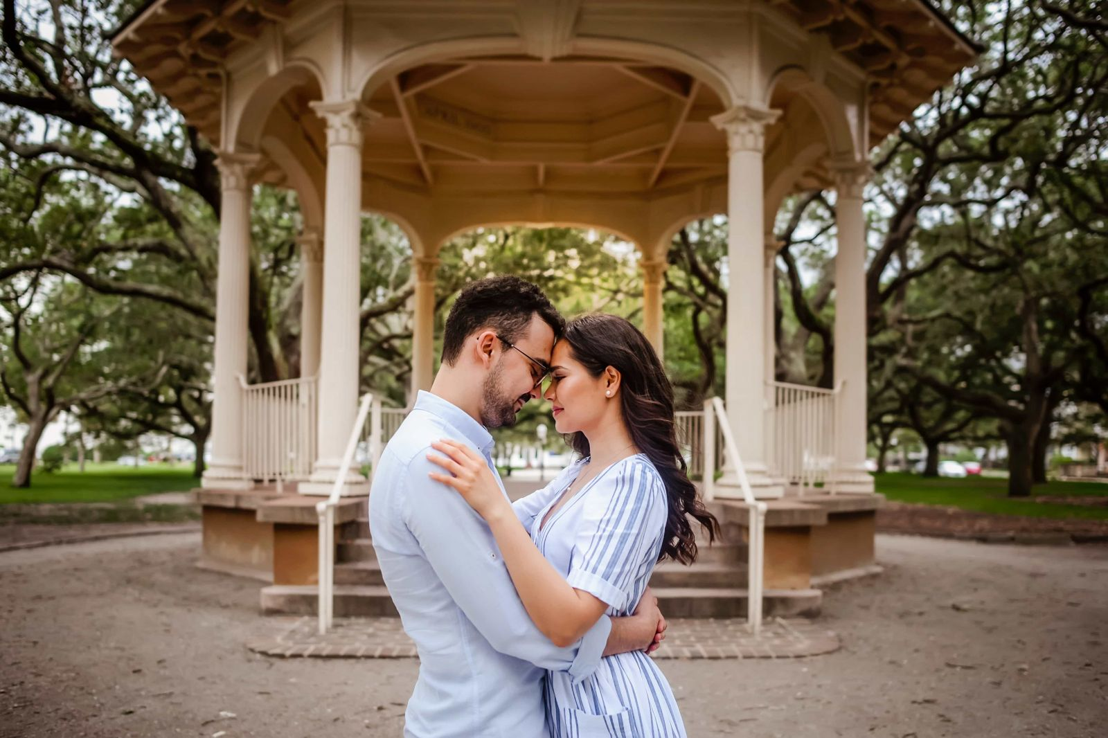 intimate couple portrait in downtown Charleston SC